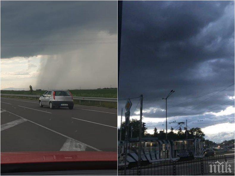 СТРАШНА БУРЯ! Светкавици раздират небето над София - изсипва се силен дъжд (СНИМКИ)