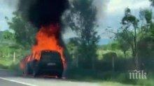 "Изгорял автомобил блокира трафика по магистрала ""Марица"""