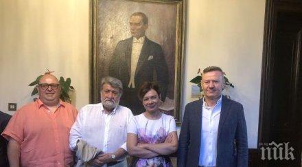 Вежди Рашидов, Нейков и Милошев на среща с турската посланичка за копродукцията ни за Ататюрк