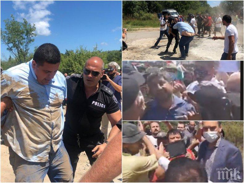 Дясната ръка на Христо Иванов удари полицай - арестуваха го! Асен Генов и Николай Стайков в агитката на провокаторите - търсят етнически сблъсъци (СНИМКИ)