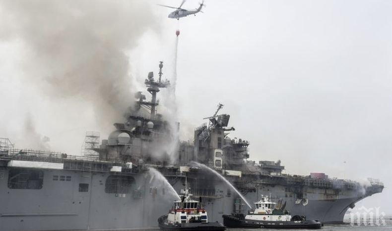 59 станаха  пострадалите при пожара на борда на американския десантен кораб в Сан Диего