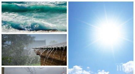 ШАРЕНО ВРЕМЕ: Слънцето напича до 35°, вятърът докарва облаци и дъжд, вдига три бала вълни