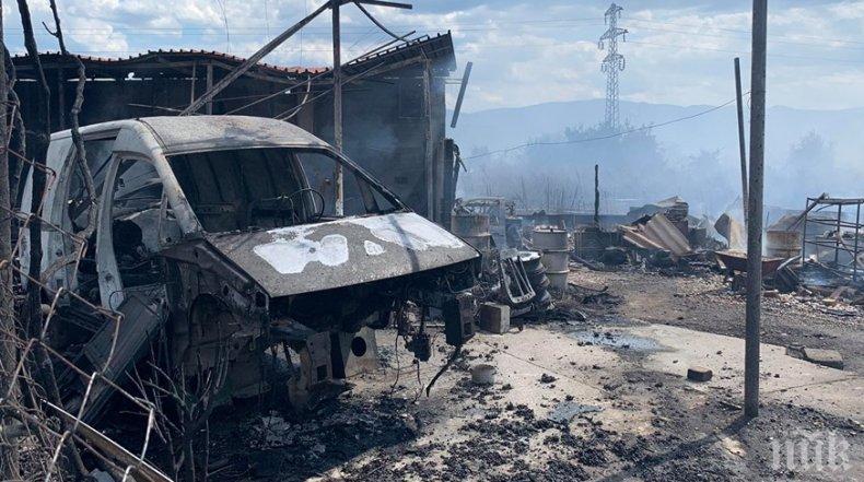 15 коли са изгорели при пожара в автоморгата до Пловдив (СНИМКИ)