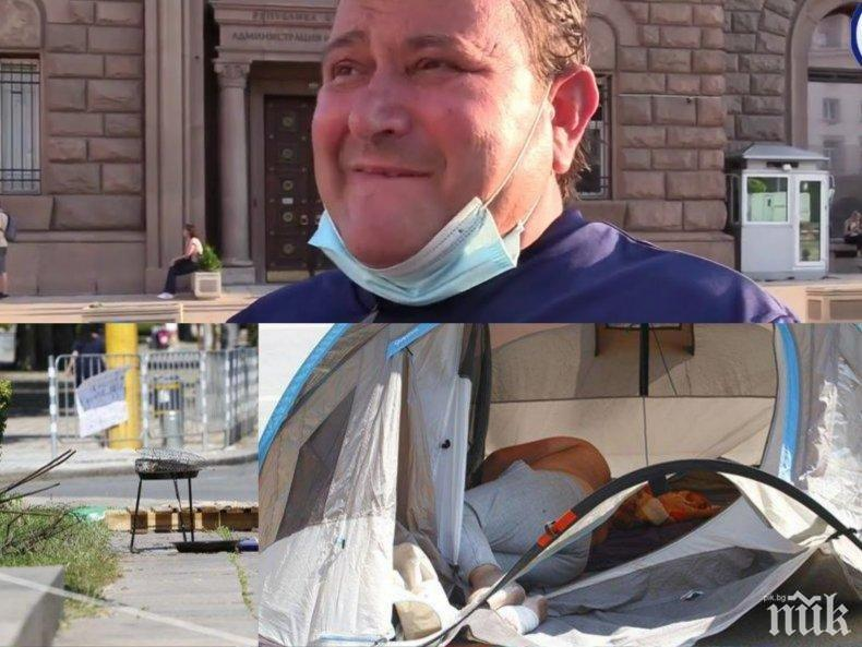 Гладуващият на Ларгото Владимир Генов откаран в болница - лекарите установиха, че е в добро състояние, но нямал здравни осигуровки