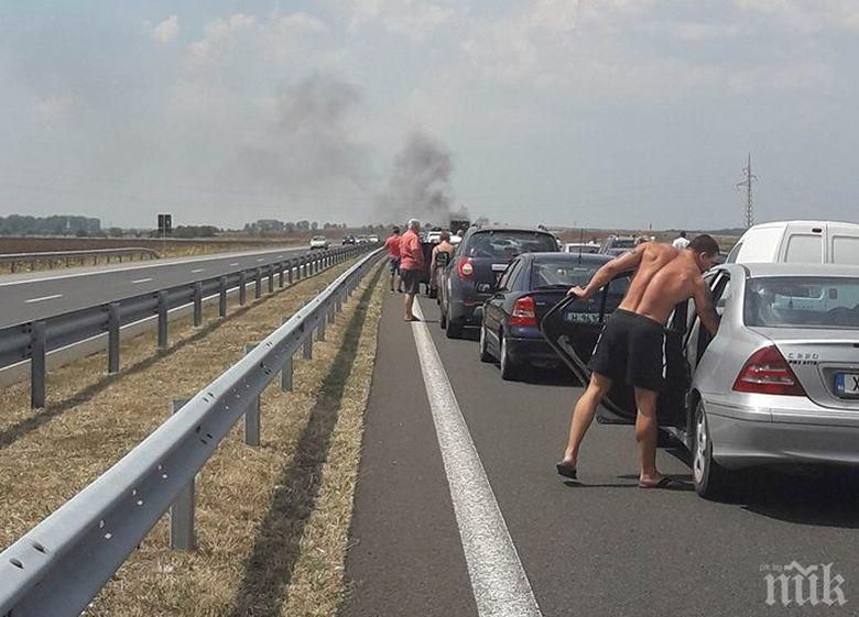 "Димна пелена се стели при км 160 на магистрала ""Тракия"""