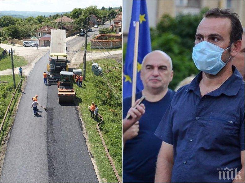 АБСОЛЮТЕН ФЕНОМЕН: Кмет на великотърновско село протестира срещу нови пътища (СНИМКИ)