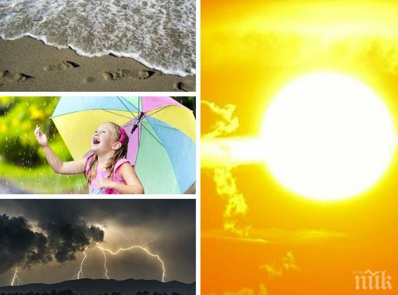 МНОГО СЛЪНЦЕ: Горещ летен ден. След обяд на места ще се заоблачи, ще превали и прегърми (КАРТА)
