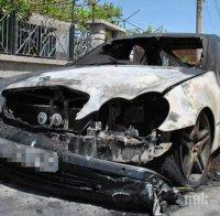 Кола пламна като факла на пътя Русе-Разград