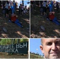 Полегнал на Шипка: Терористът от метрото Еленко Божков капна от умора да тича след господаря си Радев (ВИДЕО)