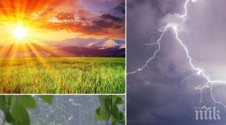 пъстра палитра слънце облаци дъжд гръмотевици жълт код високи температури три области карти