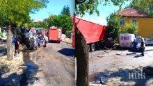 КАСАПНИЦА: Камион помля няколко коли в центъра на Айтос! Жена загина в горящ джип, има много ранени