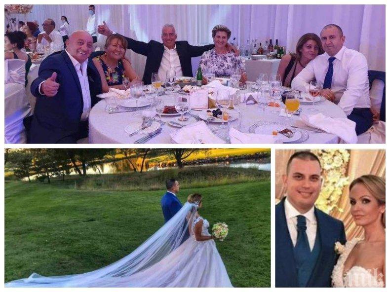 УНИКАЛНО РАЗТОЧИТЕЛСТВО: Снахата на Илияна Йотова се венчала с рокля за над 50 бона пред Румен Радев и Георги Гергов (СНИМКИ)