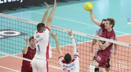 волейболистите нефтохимик първи успех квалификациите шампионска лига