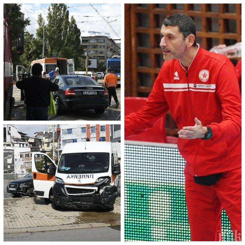 Президентът на волейболния ЦСКА катастрофира - колата му се заби челно в линейка (СНИМКИ)
