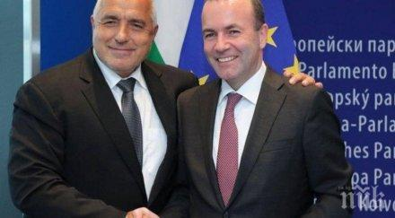 манфред вебер подкрепа борисов редовните избори март решат българия правителството напреднало доближава еврото шенген