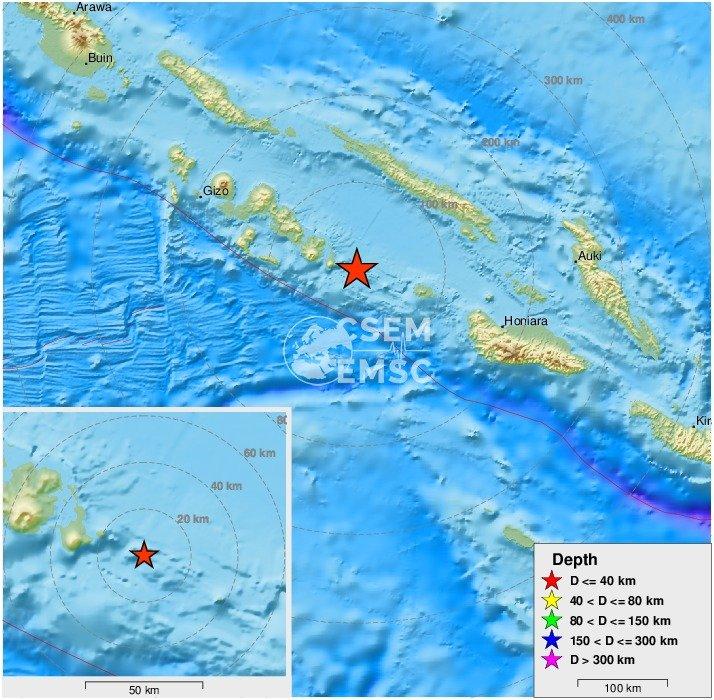 Земетресение с магнитуд 6,6 по Рихтер разтърси района на Соломоновите
