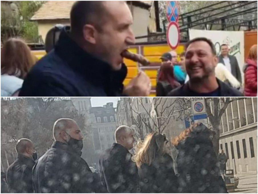 Румен Радев безделничи по жълтите павета насред работния ден (СНИМКА)