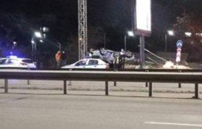 ИЗВЪНРЕДНО! Кола се обърна по таван и блокира движението на Цариграско шосе в столицата