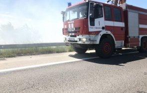 ВАЖНО ЗА ШОФЬОРИТЕ: Задимяване на магистрала Тракия заради запалени стърнища (СНИМКИ)