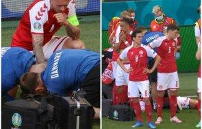 извънредно пик смразяваща сцена дания финландия футболист колабира терена снимки