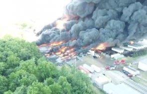 голям пожар химически завод щата илинойс видео