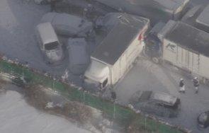 кошмарна верижна катастрофа япония ударили 130 коли снимки