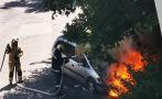 Кола изгоря като факла в Бургас (ВИДЕО)